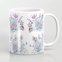 Turquoise and Violet Succulents Coffee Mug