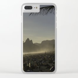 Sunset at Ipanema Beach with Pam Trees Clear iPhone Case