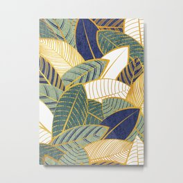 Leaf wall // navy blue pine and sage green leaves golden lines Metal Print