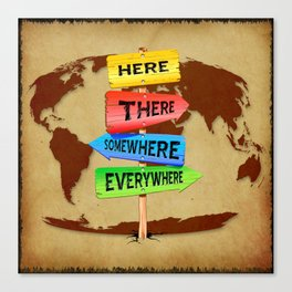 Directions Panels Wanderlust Canvas Print