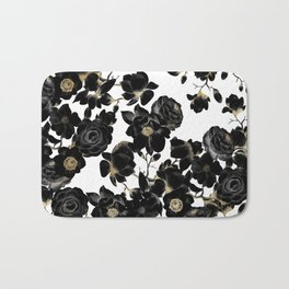 Modern Elegant Black White and Gold Floral Pattern Bath Mat
