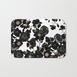 Modern Elegant Black White and Gold Floral Pattern Bath Mat