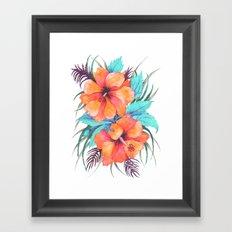 TROPICAL FLOWER {orange hibiscus}  Framed Art Print