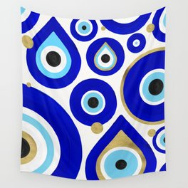 Evil Eye Charms on White Wall Tapestry