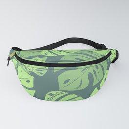 Linocut Monstera Tropical Green Fanny Pack