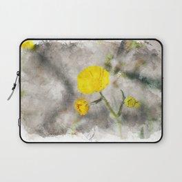 Lemon Yellow Brittle Bush in Digital Watercolor Laptop Sleeve