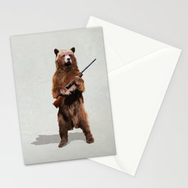 Bear with a shotgun Stationery Cards