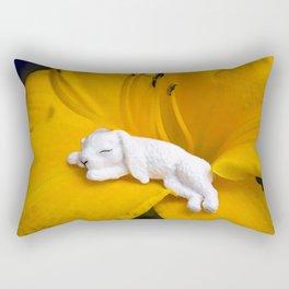 Sleeping Bunny on Day Lily Rectangular Pillow
