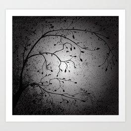 Dark Branch With Leaves Art Print