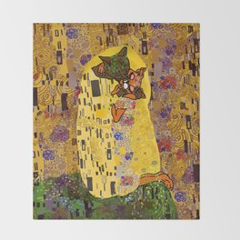 Kiss Klimt Cats Throw Blanket