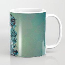 Sugar skull girl in blue Coffee Mug