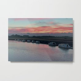 Acle river bure sunset Metal Print
