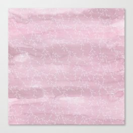 Blush pink white watercolor hand painted leaves pattern Canvas Print