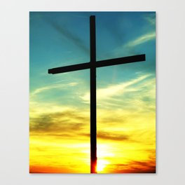 Cross and Sunset Canvas Print