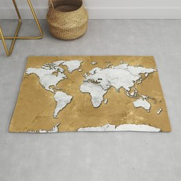 world map marble gold Rug