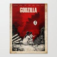 godzilla Canvas Prints featuring Godzilla.  by Sinpiggyhead