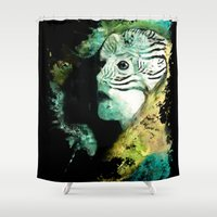 women Shower Curtains featuring Macaw Women by RIZA PEKER