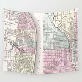 Vintage Map of Chicago and St. Louis (1855) Wall Tapestry
