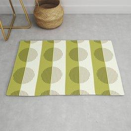 Minimalist Contemporary Lime Green Stripes & Circles - Horizons Series Rug
