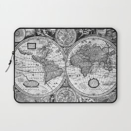Black and White World Map (1651) Laptop Sleeve