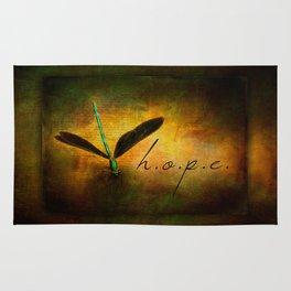 Hope Ebony Jewel Wing Damselfly on Golden Sunlight Dragonfly Rug