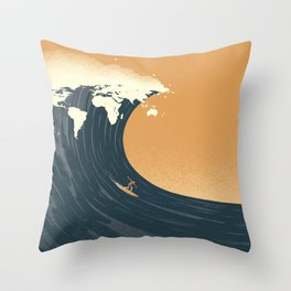 Surfing the World Throw Pillow