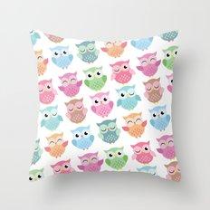 Pastel Owls Print Throw Pillow