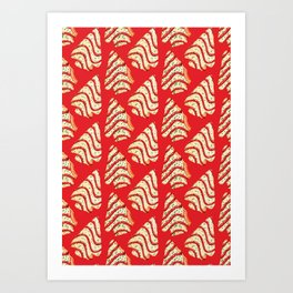 Christmas Tree Cakes Pattern - Red Art Print