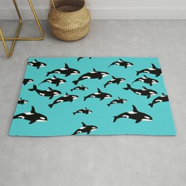 Orca Whale Pattern on Blue Rug