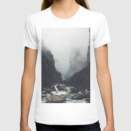 Creek Rapids At Base Of Jagged Cliffs T-shirt