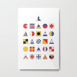 Navy Alphabet Pattern Metal Print