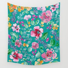 Summer Blooms on Teal Wall Tapestry