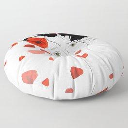 girl poppy red Floor Pillow