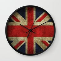 union jack Wall Clocks featuring Union Jack by Bethan Eastwood