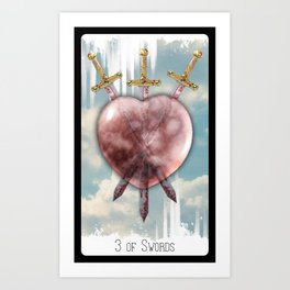 3 of Swords Art Print
