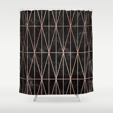 Modern geometric triangles faux rose gold pattern on black marble Shower Curtain