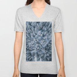 Winter Pine Forest Unisex V-Neck