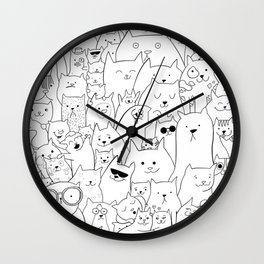 Black and white cat colouring Wall Clock