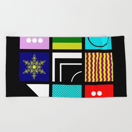 Eclectic 1 - Random collage of 9 bold colourful patterns in an abstract style Beach Towel