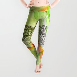 Dragonfly Lilly Art (Watercolor & Ink) Leggings