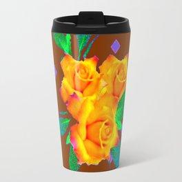 Chocolate Brown Golden Rose Violet Accents Travel Mug