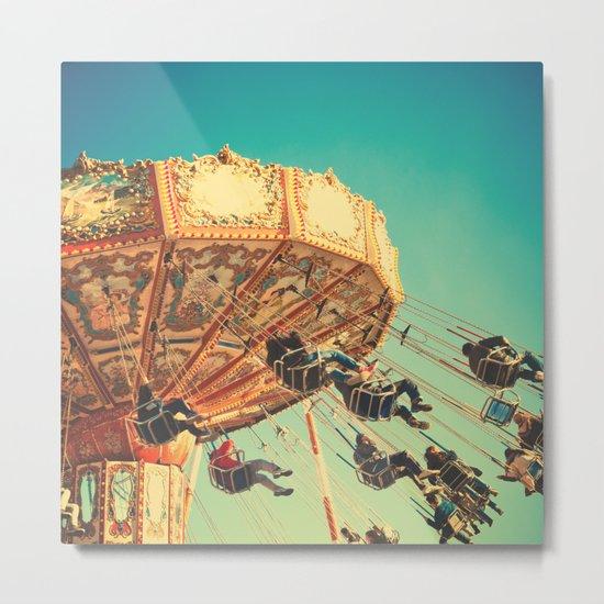 Vintage Chain Swing Ride on Blue Sky  Metal Print