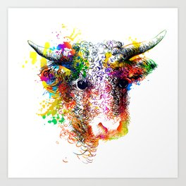 Hand drawn bull, cow, bison, buffalo head face portrait with horns. Colorful cattle painting sketch Art Print