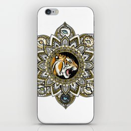 Black and Gold Roaring Tiger Mandala With 8 Cat Eyes iPhone Skin