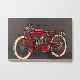 Vintage US Motorbike - Red Metal Print