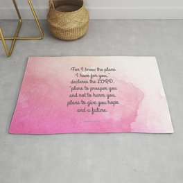 Jeremiah 29:11, Encouraging Bible Verse Rug