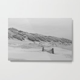 We don't play in winter - Ameland The Netherlands photo | Black and white monochrome beach nature abandoned landscape photography art print Metal Print