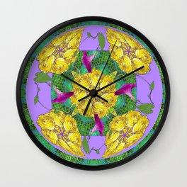 MYSTICAL YELLOW ROSES & PURPLE MORNING GLORIES GREEN ART Wall Clock