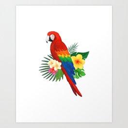 Tropical Macaw Floral Watercolor Art Print