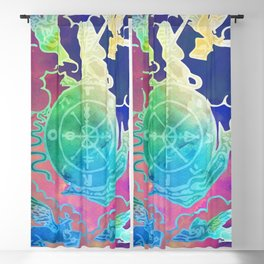 Wheel Of Fortune - A Soft Tarot Print Blackout Curtain